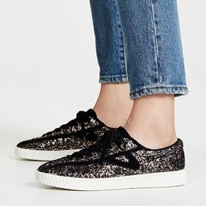 Tretorn Nylite Glitter LaceUp Sneakers Suede Laces